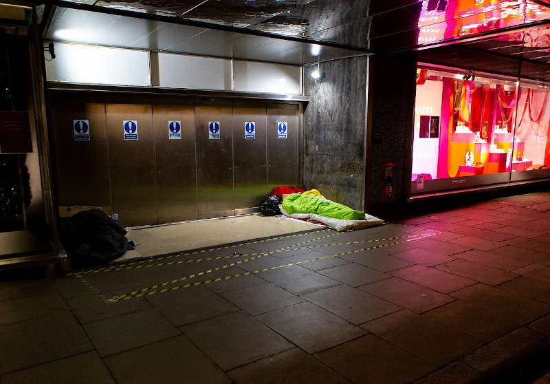 Homeless rough sleepers in the street